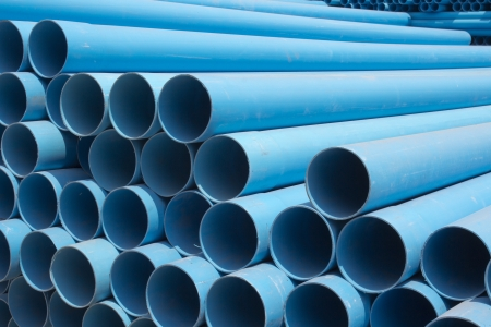 PVC pipes stacked in construction site  photo