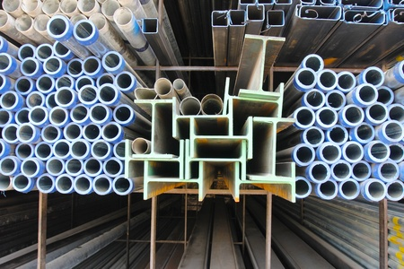 Metal pipe and I-beam for construction industrial  photo