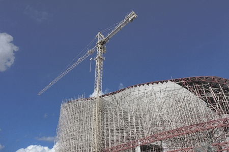 Infrared photo of scaffolding in construction site  photo