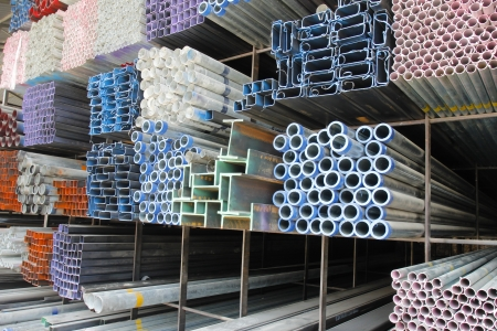 Metal pipes for construction industries photo