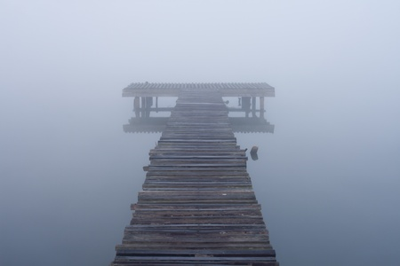old jetty walkway pier at the lake in morning photo