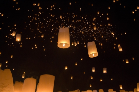 yeepeng: Floating asian lanterns in Yee-Peng festival ,Chiang Mai Thailan