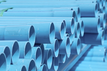 piping: PVC pipes stacked in construction site