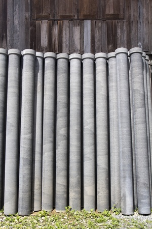 manufactor: Asbestos pipes for drain Stock Photo