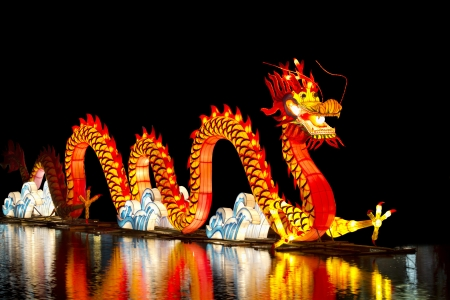 multicolor lantern: Chinese dragon lantern Stock Photo