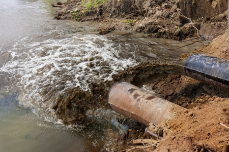 Water pollution in river because industrial not treat drain water Banco de Imagens - 22876228