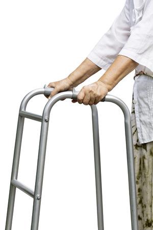 Asian senior woman using a walker Stock Photo