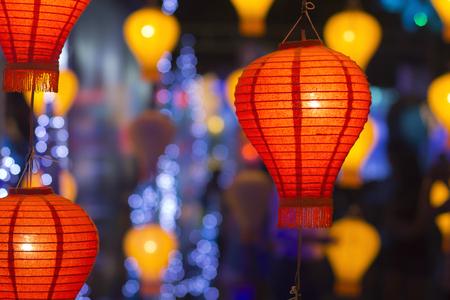 chinese lanterns: asian lanterns in festival Stock Photo