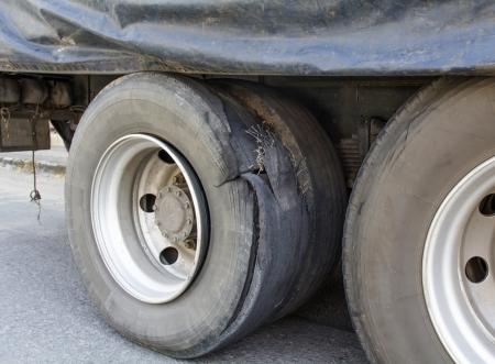flat tyre: Burst tire truck