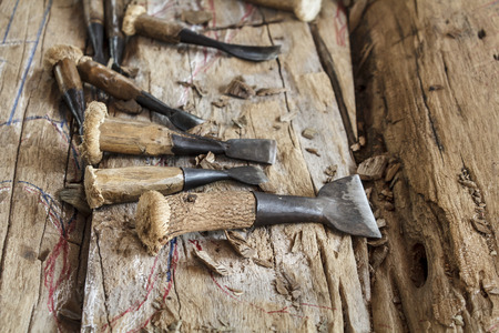 wood shavings: old wood chisels with shavings on work Stock Photo
