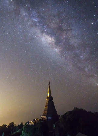 milky: Milky Way rises over the pagoda on Inthanon mountain, Chiang Mai Thailand
