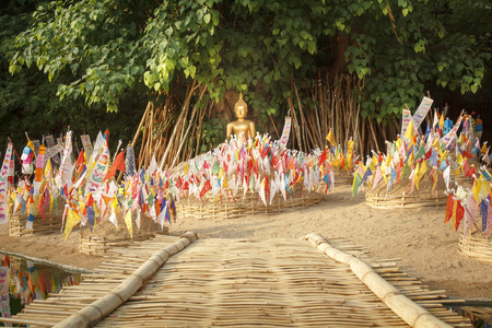 songkran: prayer flags on sand pagoda at temple in songkran festival ,Chiangmai Thailand