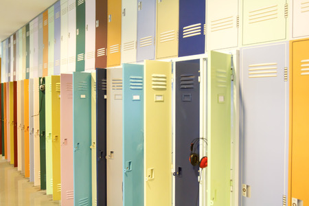 school gym: Locker room Stock Photo