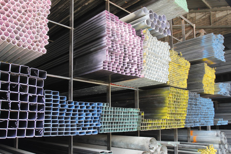 Rectangular metal pipe for construction photo