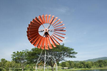 Retro style windmill  Stock Photo