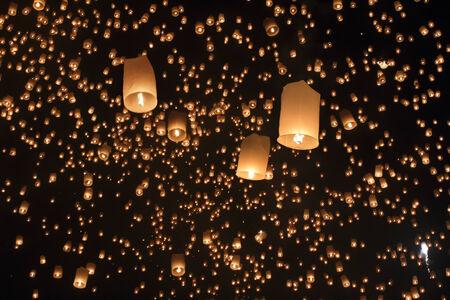 yeepeng: Floating lanterns in Yee-peng festival ,ChiangMai Thailand  Stock Photo