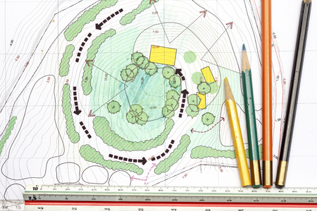 architect tools: Landscape Architect Designing on site analysis plans