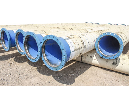 pumping: Metal pipe for water city supply Stock Photo