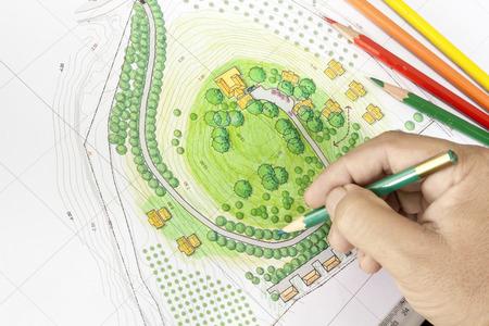 Paint the landscape design plan  Standard-Bild