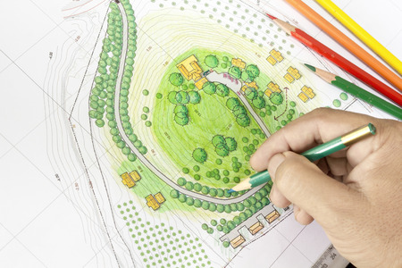 garden tool: Paint the landscape design plan  Stock Photo
