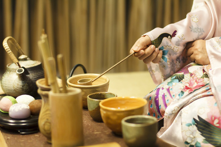 Traditional tea ceremony in Japan 스톡 콘텐츠
