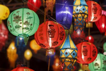 Aziatische lantaarns in lantaarnfestival Stockfoto