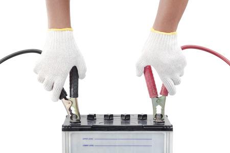 Human hand giving to charge battery 版權商用圖片 - 30534424