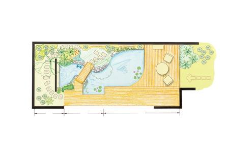 planen: Wasser-Garten-Design-Plan für Hinterhof