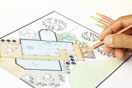 Landscape Architect design water garden plans for backyard 版權商用圖片 - 31531724