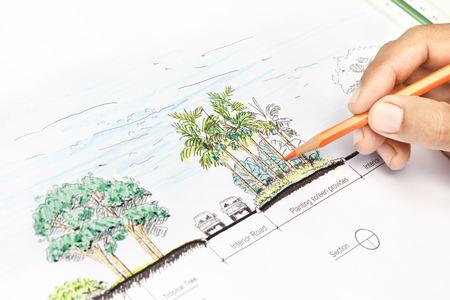 風景の建築家の設計セクションの計画 写真素材