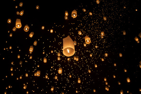 Floating asian lanterns in Yee-Peng festival ,Chiang Mai Thailand photo