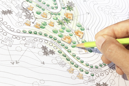 garden landscaping: Landscape Architect Designing on site analysis plan