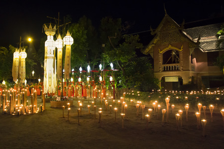 yeepeng: CHIANG MAI THAILAND - NOVEMBER 9 : Yee-Peng festival is an important culture in Thailand, Buddhist monk light candles and meditation to the Buddha. Nov 9,2014 in Phan Tao Temple, Chiangmai, Thailand.