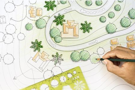 blueprint house: Landscape Architect Designing on site analysis plan