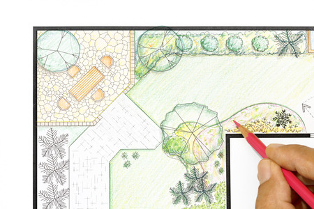 ornamental garden: Landscape architect design garden plan. Stock Photo