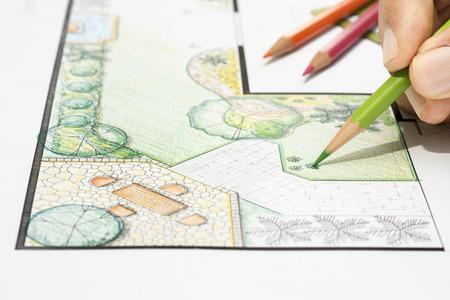 Landscape architect design garden plan Standard-Bild