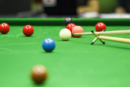 snooker balls: Snooker Balls and stick Stock Photo
