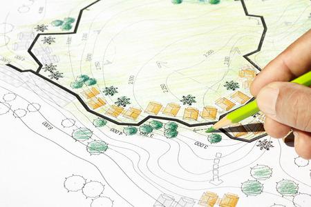 Landscape Architect Designing on site analysis plan photo