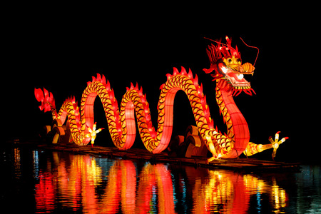 the red dragon: Chinese Dragon Lantern in pond.