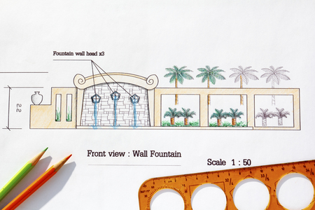 asian architect: Landscape Architect design Modern wall fountain in asian style.