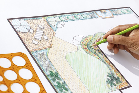 Landscape architect design L shape garden plan photo