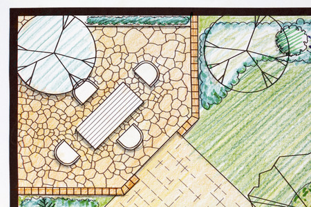 Backyard garden plan with stone patio