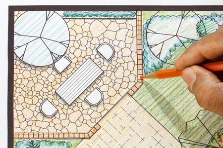 hardscape: Landscape architect design patio in backyard garden plan. Stock Photo