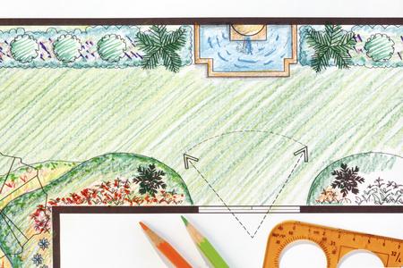 garden fountain: Garden plan with wall fountain.