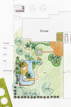 Landscape Architect design water garden plans for backyard Reklamní fotografie
