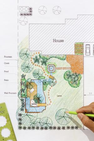 garden fountain: Landscape Architect design water garden plans for backyard Stock Photo