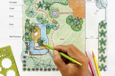arquitecto: Arquitecto paisajista planes jard�n de agua de dise�o de patio trasero