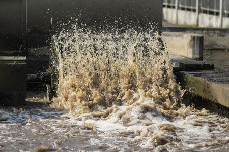 waste water: Turbine in waste water treatment plant. Stock Photo