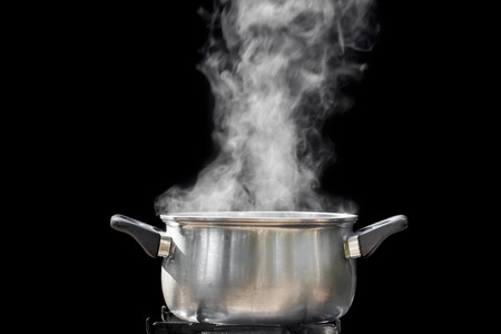 boiling water: steam over cooking pot