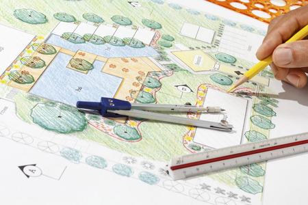 Landschaftsarchitekt Design-Hotel Resort Plan Standard-Bild - 37928272